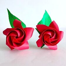 2 Origami Roses new version paper flowers Valentine Gift wedding anniversary