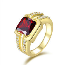 Men's Jewelry Red Garnet Cute18K Gold Filled Fashion Engagement Rings Size 8-11