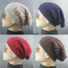 New Men Ladies Knitted Woolly Winter Oversized Slouch Beanie Hat Cap DKVP