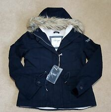 NWT Authentic Abercrombie&Fitch Womens Navy Sherpa Lined Fur Hooded Twill Jacket