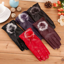 Ladies Womens Leather Gloves Fleece Lined Driving Soft Genuine Winter Bow Unique