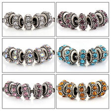 5pcs silver plated charms crystal love beads for bracelets big hole european