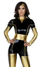 Sexy Captivating Conquerer Comic Book Hero Metallic Catsuit Ironman Costume