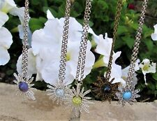 Silver Plated wire wrapped Boho Bead Snowflake/Star/Sunburst Pendant Necklace