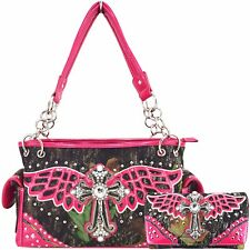 Western Style Country Camouflage Cross Purse Concealed Carry Handbags Wallet Set