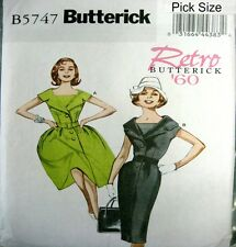 Butterick Retro Sewing Pattern 5747 Ladies 8-16 Retro 60s Full or Wiggle Dress