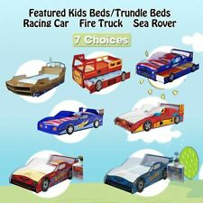 Kids Toddler Children Single Racing Car Fire Engine Sea Rover Bed Blue Red Brown