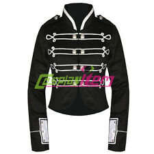 Black Silver My Chemical Romance Crop Military Jacket Halloween Cosplay Costume