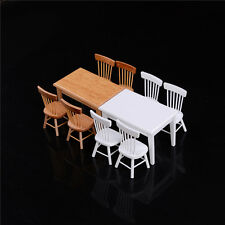 1:12 Wooden Kitchen Dining Table With 4 Chairs Set Barbie Dollhouse Furniture HU