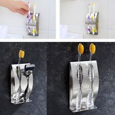 Stainless Steel Toothbrush Wall Mounted Toothbrush Holder With 2 Holes Rack PM