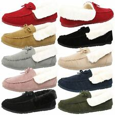 Vera Womens Flats Low Heels Fur Lined Slippers Moccasins Ladies House Shoes Size