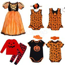 Girls Kids Baby Princess Dress Halloween Cos Pumpkin Romper Outfit Party Clothes