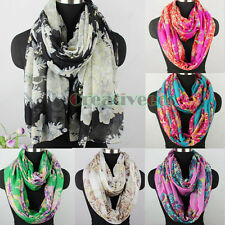 Women Fashion Flower Print Long Shawl/Infinity Loop Cowl Casual Voile Lady Scarf