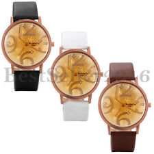 Fashion Casual Women's Large Digital Dial Leather Band Quartz Analog Wrist Watch