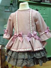 *New Winter* Girls Romany Spanish  DUSKY PINK Dress with Lace bows ruffel Age2-8