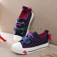 Fashion Kids Toddlers Girls Bow-knot Dot Rural Style Canvas Sneaker Casual Shoes