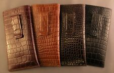 Terrific Quality leather embossed croco pattern - Eyeglass / Glasses Case w/CLIP