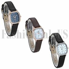 Womens Luxury Ultrathin Square Dial Leather Band Analog Quartz Sport Wrist Watch