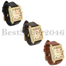 Fashion Mens Square Gold Dial Date Leather Waterproof Quartz Analog Wrist Watch