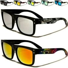 NEW BLACK SUNGLASSES LADIES MENS DESIGNER MIRRORED AVIATOR RETRO VINTAGE UV400