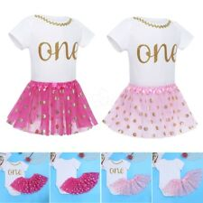 New Baby Girl 1st Crown Romper Bodysuit One Year Party Tutu Skirt Outfit Clothes