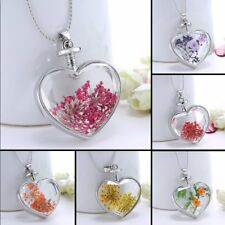 Real Dried Flower Silver Heart Glass Sweater Chain Pendant Necklace Jewelry Gift