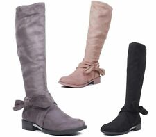 LADIES CALF KNEE HIGH KNOT BOW WOMENS FAUX SUEDE ZIP BIKER RIDING BOOTS SIZE