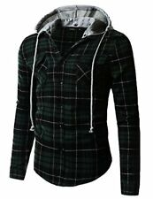 Doublju Men's Long Sleeve Casual Hood Zip-up Inner Color Blocked Check Shirt