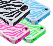 5xHybrid Rugged Pattern Soft Rubber Hard PC Combo Case Cover For iPhone 4 4s