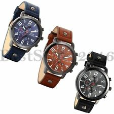 Fashion Quartz Date Watches Dial Calendar Mens Leather Band Analog Wrist Watch