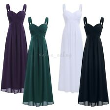 Women Girl Chiffon Pleated Long Bridesmaid Dress Formal Evening Party Prom Gown