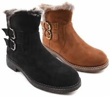 LADIES ANKLE BOOTS WOMENS FAUX SUEDE ZIP FUR LINED DESERT WORKER SHOES SIZE UK