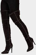 Ladies / Womens Black High Heel Over Knee Studded Boots Shoes LOTD