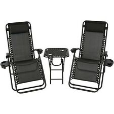 Recliner Lounge Chairs Set Garden Outdoor Yard Side Table Black Pillow Reclining