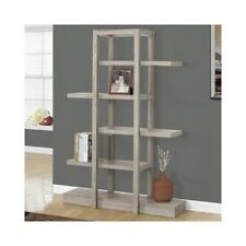 Display Étagère Shelf Grey Wood Stackable Stand Bookcase Tall Shelving Unit