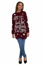 Women Xmas Tunic Jumper Ladies Novelty Knitted Retro Sweater Top Dress