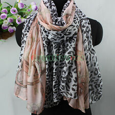 Women Fashion Leopard&Chains Pattern Soft Long Scarf Elegant Stylish Shawl Wrap