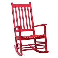 Solid Wood Rocker Chair Porch Rocking Patio Outdoor Red Classic Style Furniture