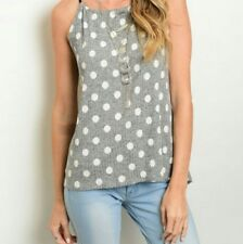 NWOT Tank Top Black with White Polka Dot Small Medium Large Tie Back Soft