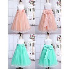 Flower Girl Long Dress Communion Party Gown Princess Pageant Bridesmaid Wedding