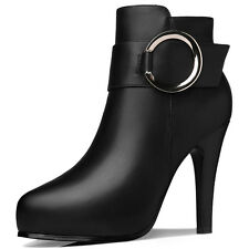 Girls Womens PU Leather  Stiletto High Heel  Ankle Boots Shoes Zipper Buckle