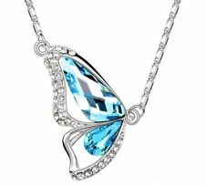 Austria crystal Charm Butterfly Pendant Necklace siver chain 18K White Gold GP