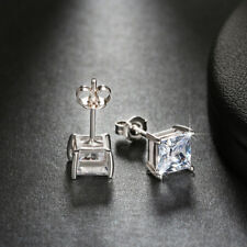 1 ct Princess Cut CZ Crystal Earring Platinum or Rose Gold-Plated Women Jewelry