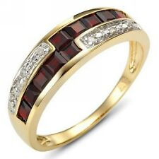 Cute Red Garnet 18K Gold Filled Womans Engagement Ring Halo Gift  Size 6-10