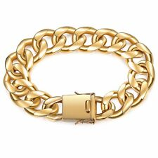 Miami Curb Cuban Link Mens Bracelet Chain Gold Plated Stainless Steel 13/18mm