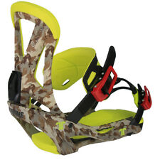 BRAND NEW TECHNINE CAMO CLASSIC SNOWBOARD BINDINGS CAMO/YELLOW MEDIUM LARGE