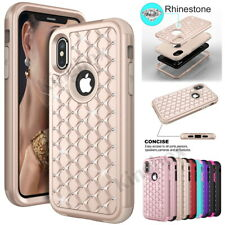 For iPhone X 10 Case Cover, Luxury Bling Rhinestone Diamond Shockproof TPU + PC