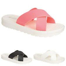 Ladies Womens Jelly Sliders Pool Sandals Flip Flop Mules Slippers Shoes Size 3-8