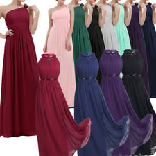 Women's Chiffon Long Bridesmaid Prom Cocktail Halter Formal Evening Party Dress