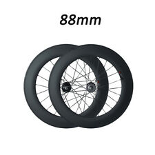Track fixed gear 700C 88mm Depth Tubular Road Bike Racing Matte Carbon Wheelset
